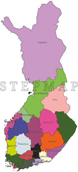 Stepmap Landkarte Politische Karte Finnland