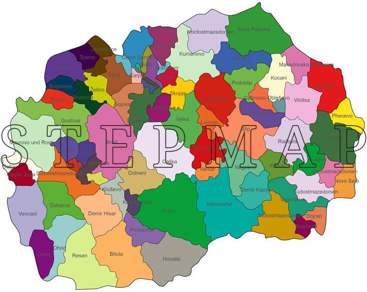 Mazedonien Karte.Stepmap Landkarte Politische Karte Mazedonien