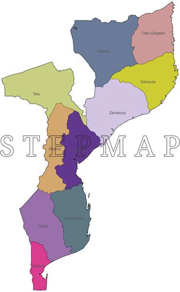 Mosambik Karte.Stepmap Landkarte Politische Karte Mosambik