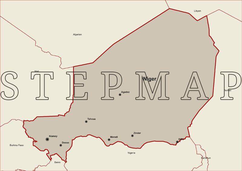 StepMap - Landkarte Niger mit Nachbarstaaten (inkl ...
