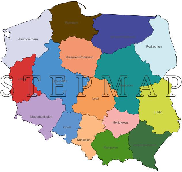 Polen Schlesien Karte.Stepmap Landkarte Politische Karte Polen