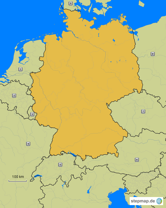 001 - deutschland mit angrenzenden ländern