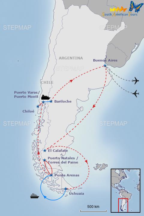StepMap - 0162e_SOUTH PATAGONIA & CAPE HORN (L) - Landkarte ...