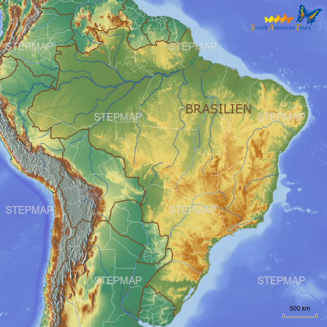 topographische karte brasilien 0300d_BRASILIEN_TOPOGRAPHISCHE KARTE (L) von satfra   Landkarte
