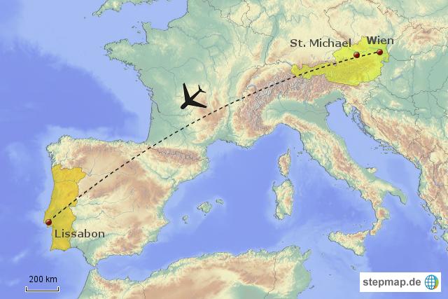 Stepmap 1 Flug Wien Lissabon Landkarte Für Europa