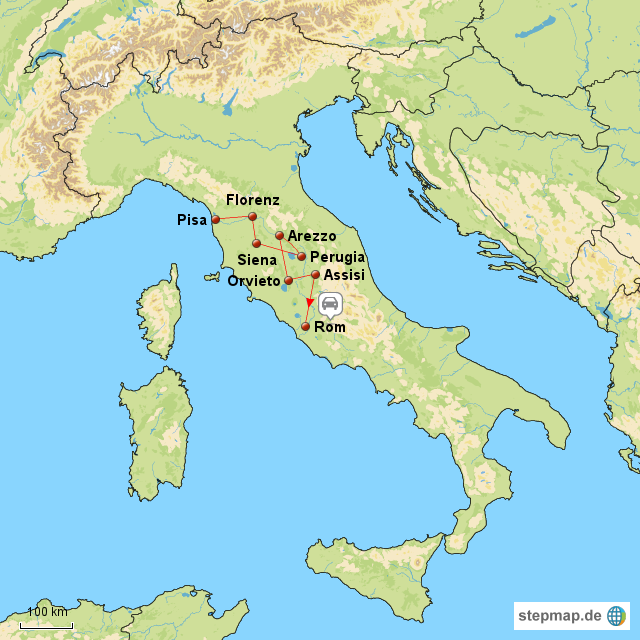 landkarte italien assisi StepMap   1. Italienreise Assisi   Rom   Landkarte für Italien