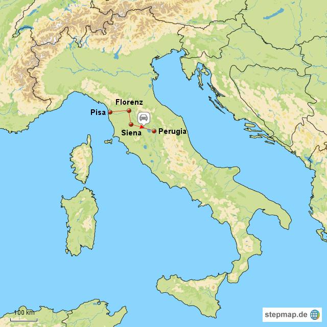 italien perugia karte StepMap   1. Italienreise Siena   Perugia   Landkarte für Italien