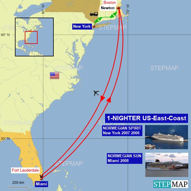 StepMap - 1-NIGHTER US-East-Coast - Landkarte für Nordamerika