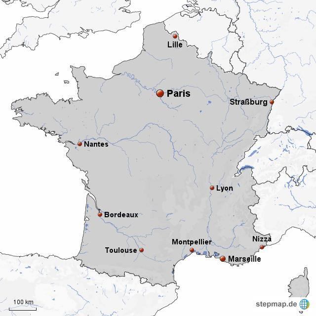 stepmap 10 gr te st dte frankreichs landkarte f r frankreich. Black Bedroom Furniture Sets. Home Design Ideas