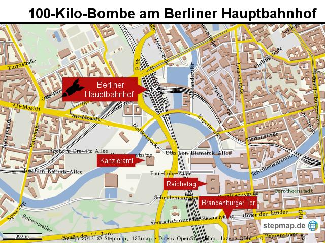 100KiloBombe am Berliner Hauptbahnhof von keiser Landkarte fr