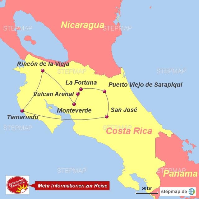 Costa Rica Karte Sehenswurdigkeiten.Stepmap 10301318 Costa Rica Economico Landkarte Fur