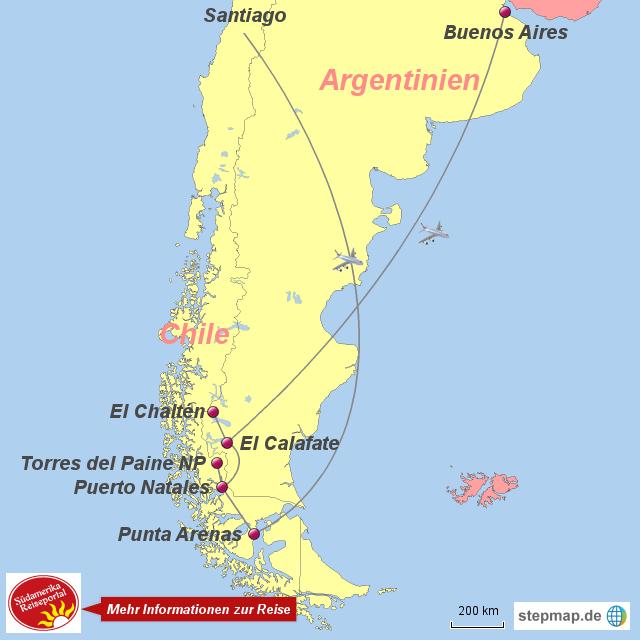 Patagonien Highlights Karte.Stepmap 1050672 Patagonien Fels Und Eis Wasser Und Wind