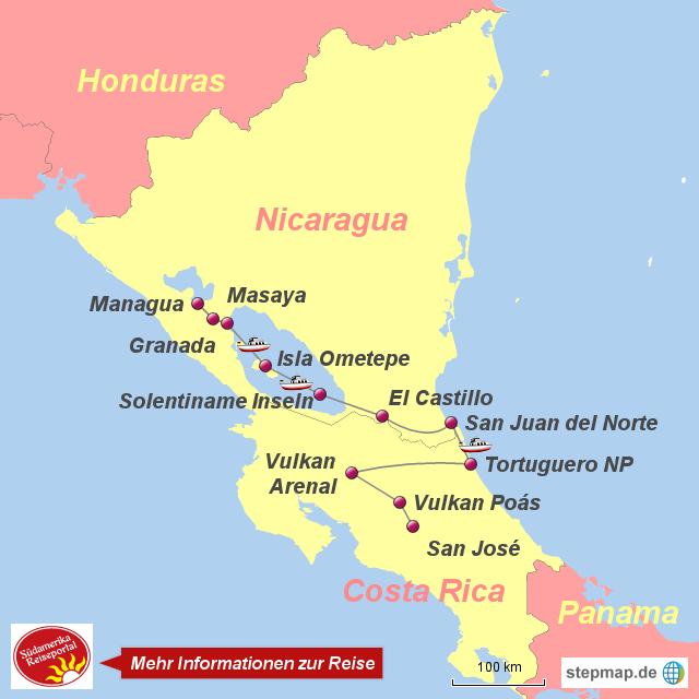 Costa Rica Karte Mittelamerika.Stepmap 1120886 Faszination Mittelamerika Costa Rica Nicaragua