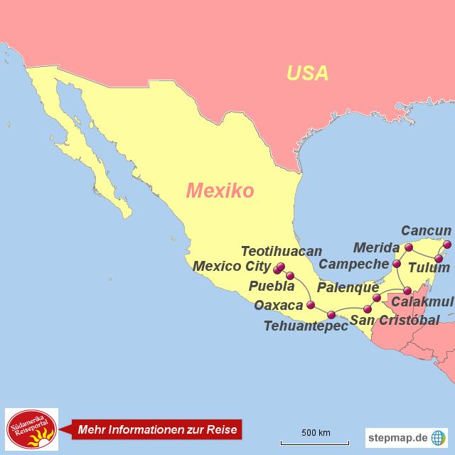 Mexiko Karte Welt.Stepmap 1210627 Mexiko Die Welt Der Maya Fur Geniesser