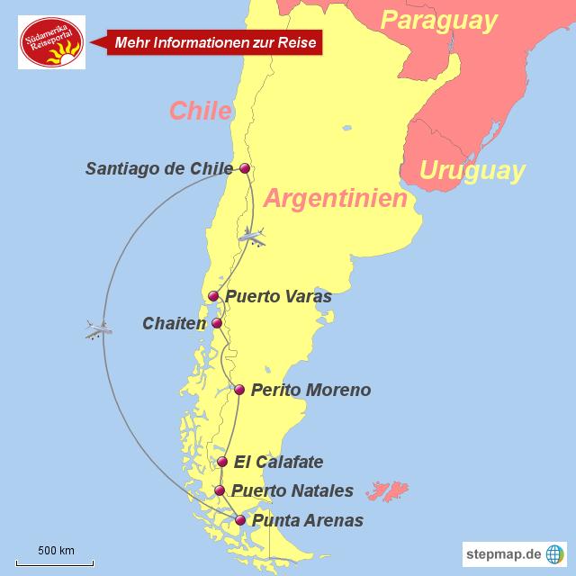 Chile Patagonien Karte.Stepmap 13101200 Patagonien Rundreise Chile Argentinien