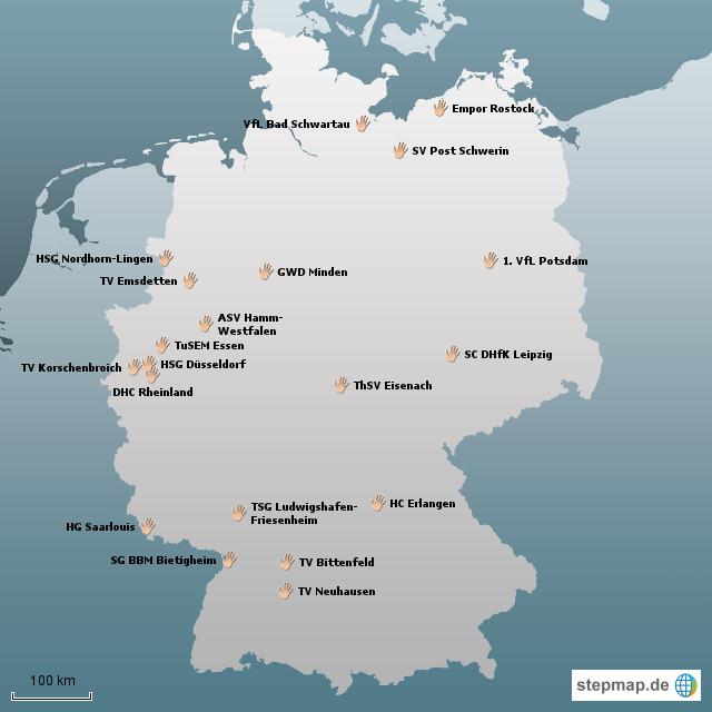 Stepmap 2 Handball Bundesliga 2011 12 Landkarte Fur Deutschland