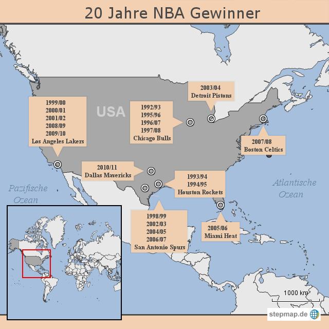 StepMap - 20 Jahre NBA Gewinner - Landkarte für USA