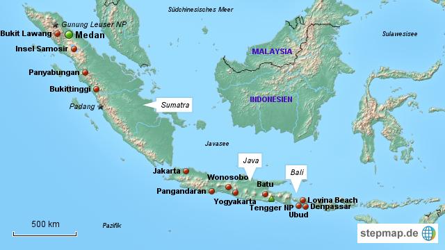 Bali Karte Asien.Stepmap 27 Tage Sumatra Java Bali Landkarte Für Asien