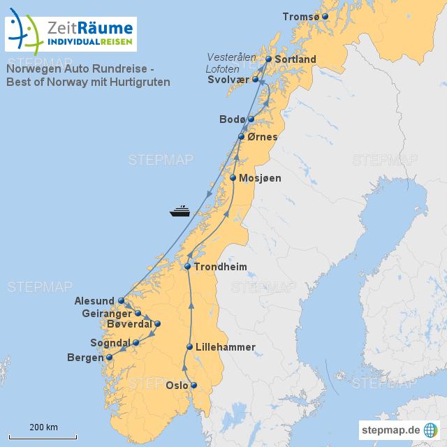 Karte Norwegen Hurtigruten.Stepmap 645 Norwegen Auto Rundreise Best Of Norway Mit