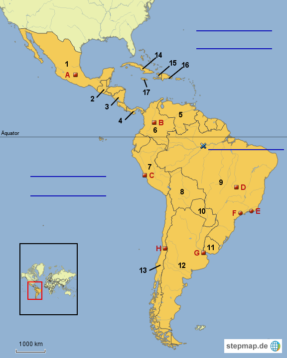 Stumme Karte Lateinamerika.Stepmap 8 Stumme Karte Lateinamerika Landkarte Fur
