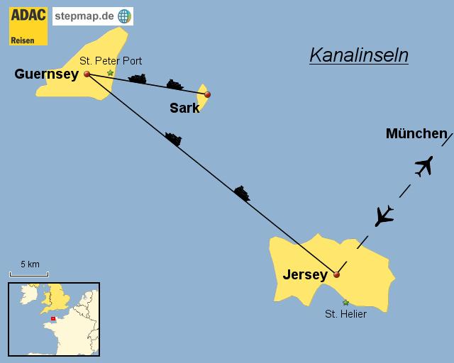adac mitgliederreise kanalinseln von tour landkarte f r. Black Bedroom Furniture Sets. Home Design Ideas