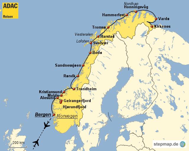 Karte Norwegen Hurtigruten.Stepmap Adac Reisen Hurtigruten Landkarte Für Norwegen