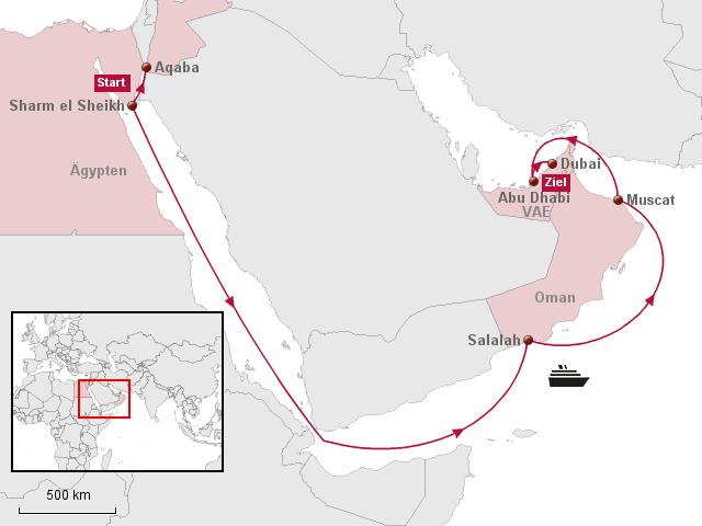 Karte ägypten Sharm El Sheikh.Stepmap Aidadiva Transarabien Ab Sharm El Sheikh An Dubai