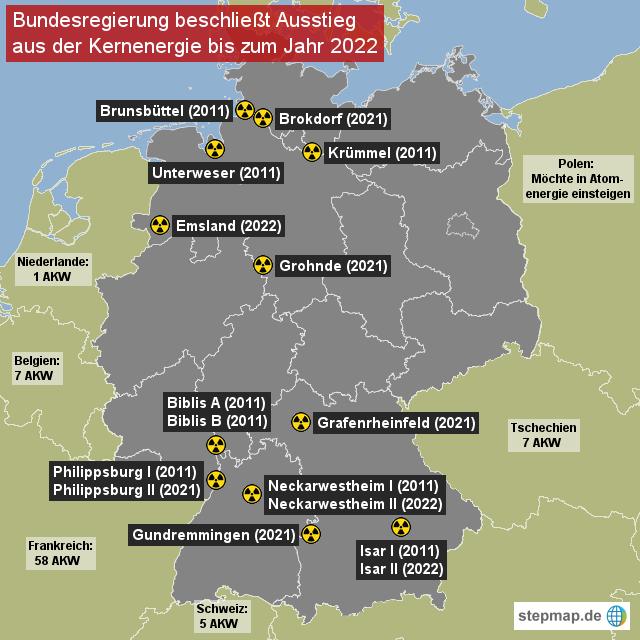 Atomkraftwerke Deutschland Karte.Stepmap Akw Deutschland Und Nachbarländer Landkarte Für Deutschland