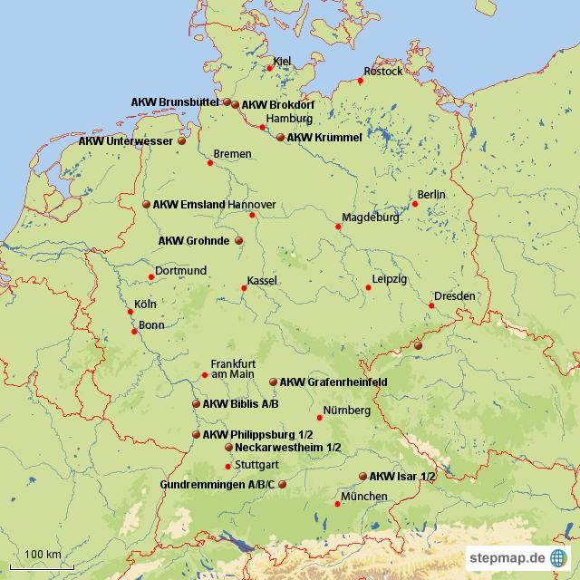 Atomkraftwerke Deutschland Karte.Stepmap Akw In Deutschland Am Netz Landkarte Für Deutschland