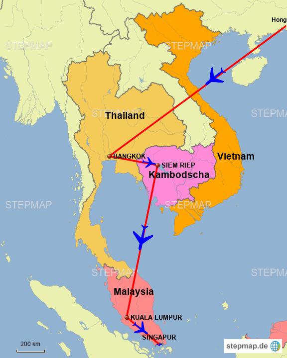 StepMap - ASIEN-RUNDREISE - Landkarte für Asien