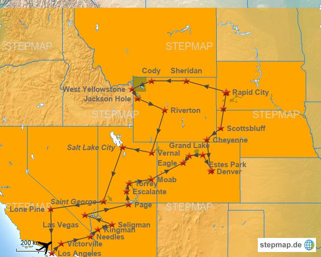 StepMap - Ab Los Angeles nach Arizona, Nevada, Utah ...