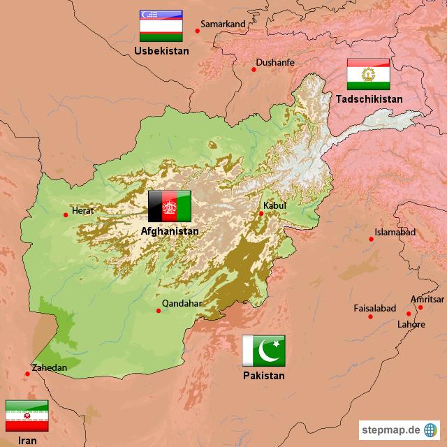 Karte Iran Nachbarlander.Stepmap Afghanistan Landkarte Fur Afghanistan
