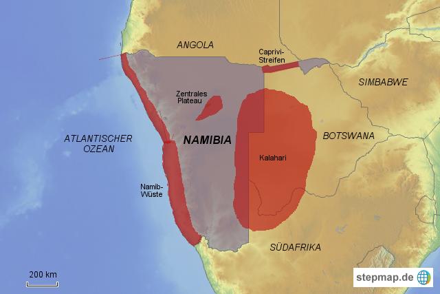 Namib Wüste Karte.Stepmap Afrika 4 Lr Namibia H Landkarte Für Afrika