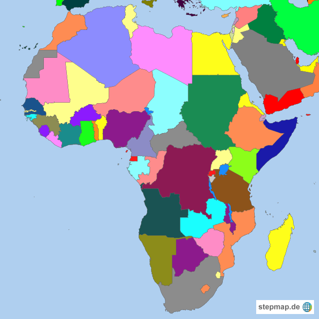afrika länder karte StepMap   Afrika Länder in Farben   Landkarte für Afrika