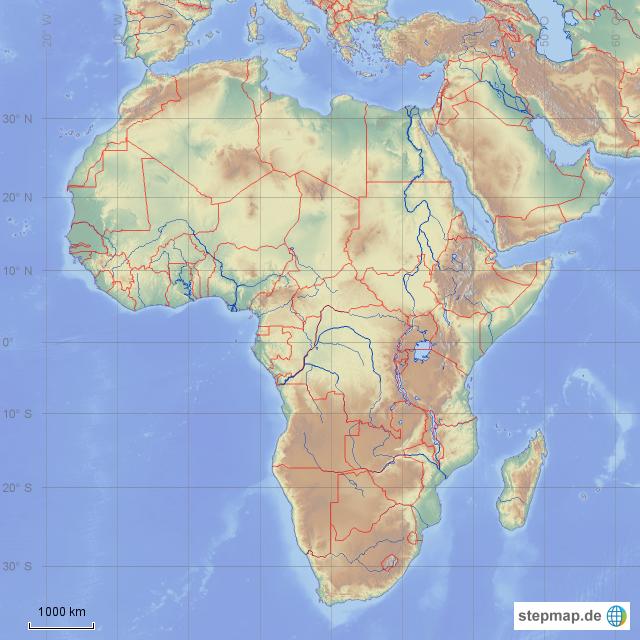 afrika karte physisch StepMap   Afrika physisch stumme Karte   Landkarte für Afrika afrika karte physisch