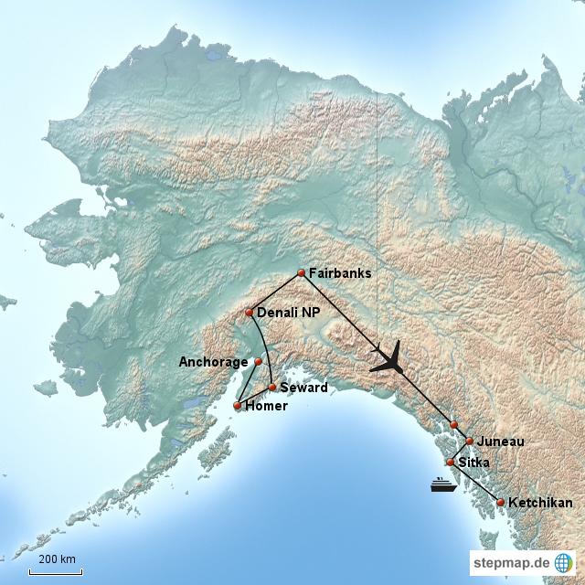 StepMap - Alaska Sabbatical 2012 - Landkarte für Nordamerika