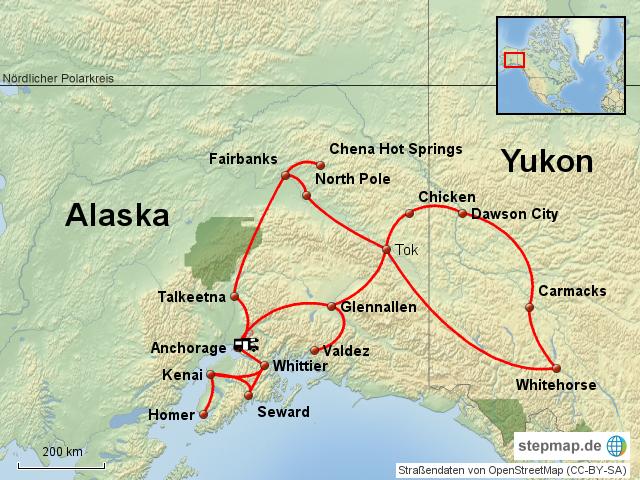 Polarkreis Alaska Karte.Stepmap Alaska Yukon Kanada Landkarte Für Nordamerika