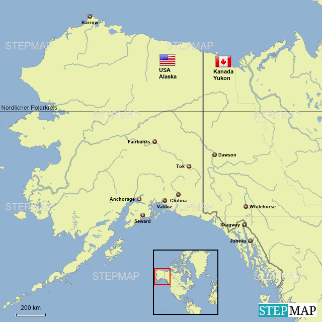 Polarkreis Alaska Karte.Stepmap Alaska übersicht Landkarte Für Nordamerika