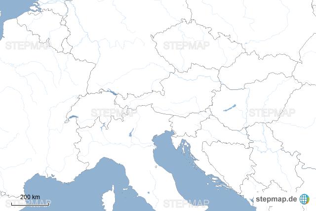 Stumme Karte.Stepmap Alpen Stumme Karte Landkarte Fur Deutschland