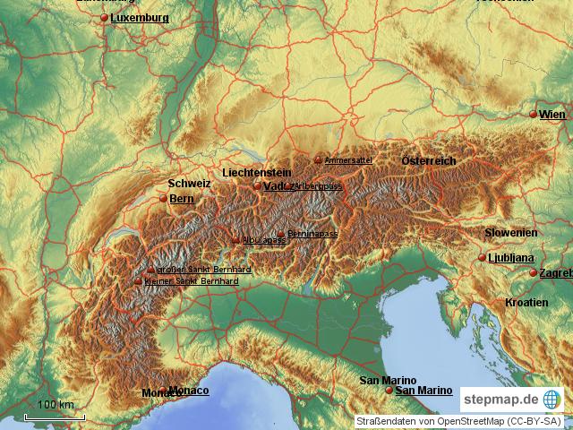 Alpenpässe Karte.Stepmap Alpenpässe Landkarte Für österreich