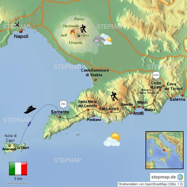 amalfiküste italien landkarte StepMap   Amalfiküste / Italien   Landkarte für Italien
