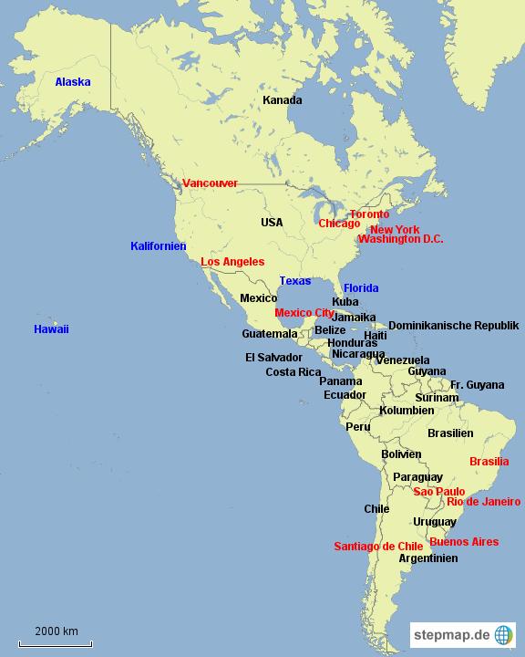 Usa Karte Ohne Staaten.Stepmap Amerika Länder Staaten Städte Landkarte Für Nordamerika