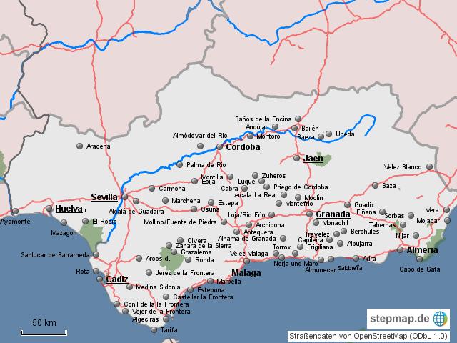 Andalusien Karte Spanien.Stepmap Andalusien Karte Landkarte Für Spanien