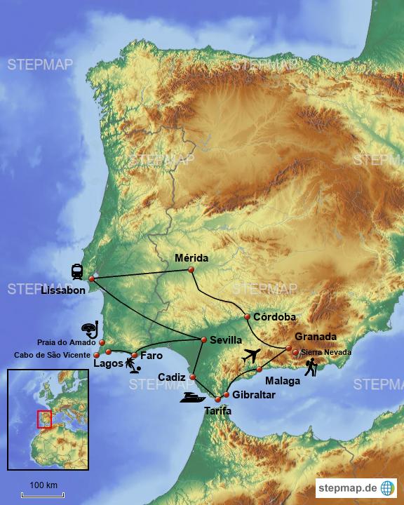Karte Andalusien Portugal.Stepmap Andalusien Portugal Gibraltar Landkarte Für Spanien