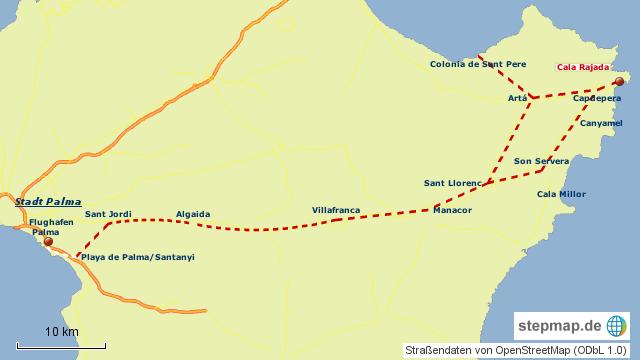 Cala Ratjada Karte.Stepmap Anfahrt Flughafen Palma Cala Ratjada Landkarte