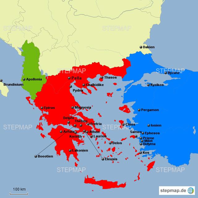 Karte Griechenland Deutsch.Stepmap Antike Griechenlandkarte Landkarte Fur Deutschland