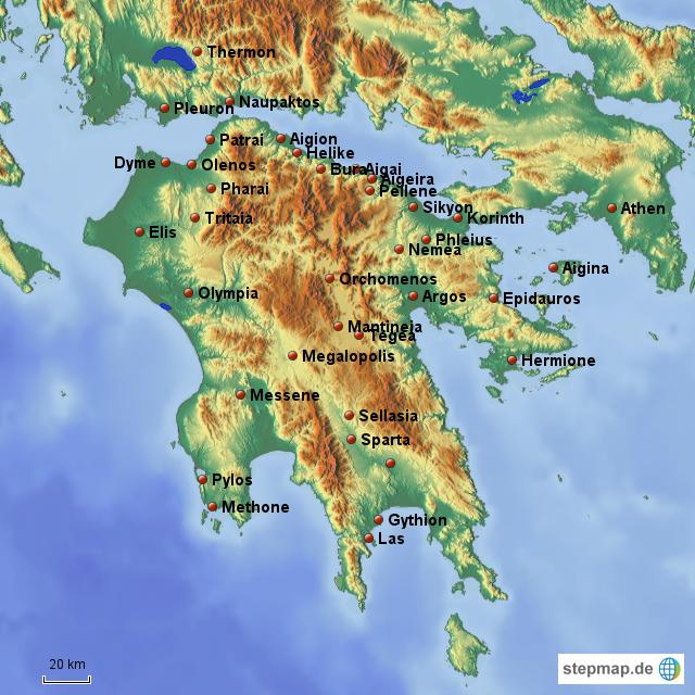 Peloponnes Karte.Stepmap Antike Peloponnes Landkarte Für Deutschland