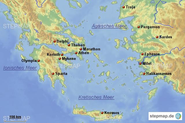 karte antikes griechenland StepMap   Antikes Griechenland 1   Landkarte für Griechenland