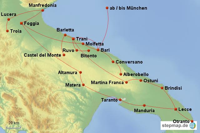 Apulien Karte Italien.Stepmap Apulien 2012 Landkarte Für Italien