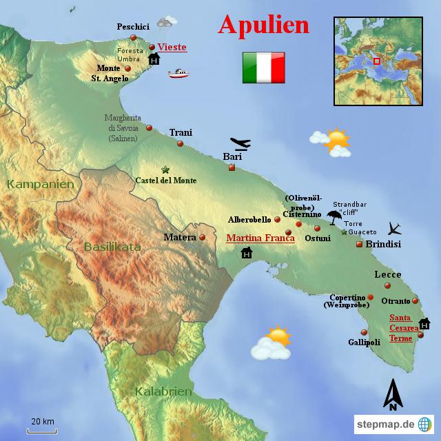 Apulien Karte Italien.Stepmap Apulien Italien Landkarte Für Italien